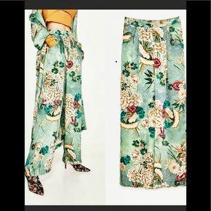 Zara satin floral print wide leg palazzo pants S